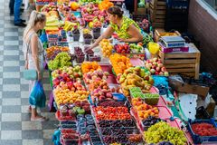 Russia, Rostov on Don, June 28, 2018: Fresh fruits at a central market. Healthy food on sale royalty free stock photo