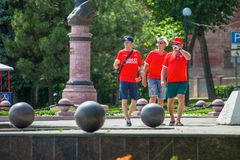 Russia Rostov-on-Don 16 June 2018, three men, fans of Switzerland walking around the city, where the 2018 FIFA World Cup. royalty free stock photos