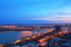Russia. Rostov-on-Don. Night view of the city and Voroshilov bri Stock Photo
