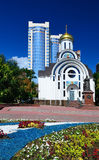 Russia. Rostov-on-Don. Old-Pokrovsky church and a monument to Ca Royalty Free Stock Photo
