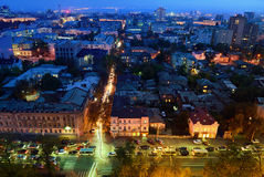 Russia. Rostov-on-Don. Red Army street. Evening cityscape Royalty Free Stock Image