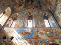 Russia. Rostov .Kremlin . Church interior. Russia. Rostov. June, 17, 2017. Rostov city. Kremlin.Church interior view. Walls decorated by ancient russian Royalty Free Stock Photography