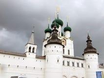 Rostov Kremlin . White church against the dark stormy sky. Russia. Rostov. June, 17, 2017. Rostov Kremlin that is located in Rostov city . Detailed view of The Royalty Free Stock Image