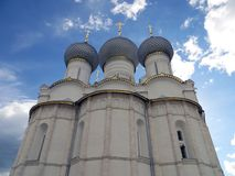 Rostov Kremlin.View of domes of the cathedral of the Assumption. Russia. Rostov. June, 17, 2017. Rostov city. Kremlin. View of domes of the cathedral of the Royalty Free Stock Photo