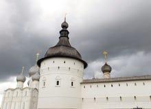 Rostov Kremlin . White church against the dark stormy sky. Russia. Rostov. June, 17, 2017. Rostov Kremlin that is located in Rostov city . White kremlin walls Royalty Free Stock Photography