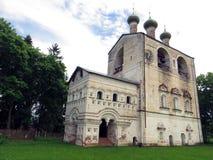 Rostovsky Borisoglebsky monastery. Bell tower. Russia. Rostov. June, 17, 2017. View of Rostovsky Borisoglebsky monastery. Bell tower in summer garden Stock Images
