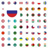 Russia round flag icon. Round World Flags Vector illustration Icons Set. Russia round flag icon. Round World Flags Vector illustration Icons Set Stock Photos
