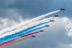 Russia Rus aerobatic team Albatros L-39 fighters at MAKS 2015 Airshow Royalty Free Stock Photo