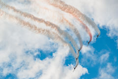 Russia Rus aerobatic team Albatros L-39 fighters at MAKS 2015 Airshow Stock Photo