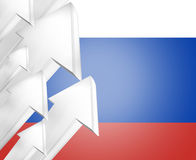 Russia russian flag silver metalic arrows 3d render Royalty Free Stock Photo