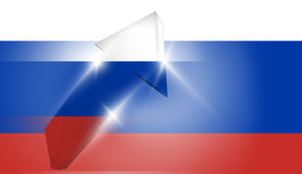 Russia russian flag silver metalic arrows 3d render Stock Images