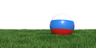 Russia Russian flag soccer ball lying in grass world cup 2018. Isolated on white background. 3D Rendering, Illustration Stock Images