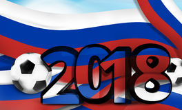 Russia russian soccer football 2018 bold font 3d illustration Royalty Free Stock Photos