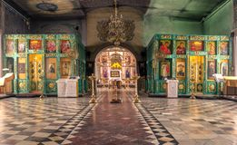 Russia, Ryazan 1 Feb 2019 - Interior of the Orthodox Church, altar, iconostasis, in natural light stock image