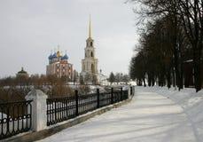 Russia. Ryazan kremlin. Russia, Ryazan. View to the river Troubezh embankment and the Ryazan kremlin Royalty Free Stock Photos