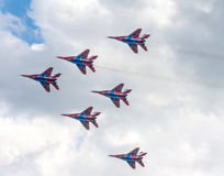 Russia`s aerobatic team `Swifts` Russian: Strizhi Royalty Free Stock Photo