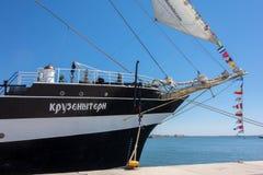 Russia's barque Kruzenshtern. ALEXANDROUPOLIS, GREECE - APR 18, 2015: Old Russia's barque Kruzenshtern ex Padua, visit the port of Alexandroupolis Stock Photo