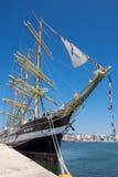 Russia's barque Kruzenshtern. ALEXANDROUPOLIS, GREECE - APR 18, 2015: Old Russia's barque Kruzenshtern ex Padua, visit the port of Alexandroupolis Stock Photos