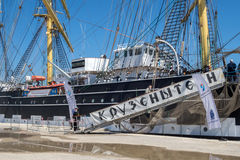 Russia's barque Kruzenshtern. ALEXANDROUPOLIS, GREECE - APR 18, 2015: Old Russia's barque Kruzenshtern ex Padua, visit the port of Alexandroupolis Stock Image