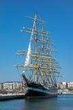 Russia's barque Kruzenshtern. ALEXANDROUPOLIS, GREECE - APR 18, 2015: Old Russia's barque Kruzenshtern ex Padua, visit the port of Alexandroupolis Royalty Free Stock Photos