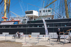 Russia's barque Kruzenshtern. ALEXANDROUPOLIS, GREECE - APR 18, 2015: Old Russia's barque Kruzenshtern ex Padua, visit the port of Alexandroupolis Royalty Free Stock Image