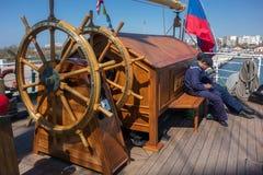 Russia's barque Kruzenshtern. ALEXANDROUPOLIS, GREECE - APR 18, 2015: Old Russia's barque Kruzenshtern ex Padua, visit the port of Alexandroupolis. Crew in rest Stock Photography