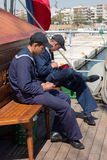 Russia's barque Kruzenshtern. ALEXANDROUPOLIS, GREECE - APR 18, 2015: Old Russia's barque Kruzenshtern ex Padua, visit the port of Alexandroupolis. Crew in rest Stock Photos