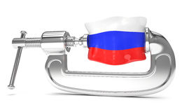 Russia's flag in clamp, crisis. Sanction concept Stock Photos
