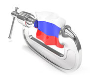 Russia's flag in clamp, crisis. Sanction concept Stock Images