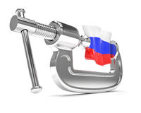 Russia's flag in clamp, crisis. Sanction concept Royalty Free Stock Photography