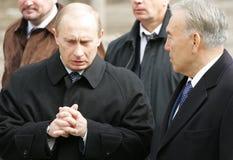 Russia's Putin and Kazakh's Nazarbayev Stock Photo