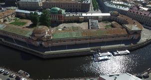 Russia, Saint-Petersburg, Aerial view panorama field of Mars, Trinity bridge, Peter and Paul fortress, roofs, Summer. Garden, shadows of trees, Neva river stock footage