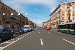 View of Nevsky Prospekt. RUSSIA, SAINT PETERSBURG - AUGUST 18, 2017: The area of the city. View of Nevsky Prospekt from Vosstaniya Square and Ligovsky Prospect Stock Images