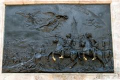 Bas-relief on the monument to Peter I. RUSSIA, SAINT PETERSBURG - AUGUST 18, 2017: Bas-relief on the monument to Peter I in front of the St. Michael`s Castle Stock Images