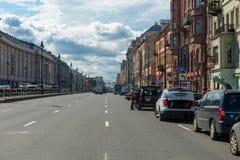 Ligovsky Prospekt. RUSSIA, SAINT PETERSBURG - AUGUST 18, 2017: Car traffic on the Ligovsky Prospekt Stock Images