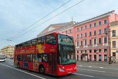 City tourist sightseeing Red tour bus Stock Photography