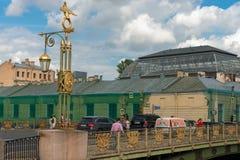 Decorative lantern of the Panteleymonovsky Bridge. RUSSIA, SAINT PETERSBURG - AUGUST 18, 2017: Decorative lantern of the Panteleymonovsky Bridge, on the Royalty Free Stock Photo