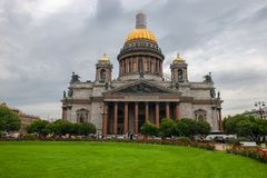 Saint Isaac`s Cathedral. RUSSIA, SAINT PETERSBURG - AUGUST 18, 2017: Famous Cathedral in St Petersburg and Unesco World Heritage site. Saint Isaac`s Cathedral Stock Photo