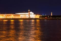 Rostral column and old stock exchange building. RUSSIA, SAINT PETERSBURG - AUGUST 18, 2017:  Landmarks of Vasilievsky island spit - rostral column and old stock Royalty Free Stock Photography