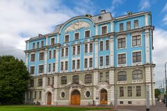 Military-marine college by name of Nakhimov. RUSSIA, SAINT PETERSBURG - AUGUST 18, 2017: Military-marine college by name of Nakhimov, built on Petrovskaya quay Royalty Free Stock Photos