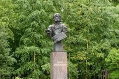 The monument to Ivan Aivazovsky, Kronshtadt. RUSSIA, SAINT PETERSBURG - AUGUST 18, 2017: The monument to Ivan Aivazovsky, Kronshtadt Royalty Free Stock Image