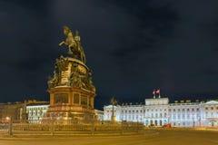 Monument to Nicholas 1. RUSSIA, SAINT PETERSBURG - AUGUST 18, 2017: Monument to Nicholas 1 on St. Isaac`s Square, night illumination, long exposure light Royalty Free Stock Photo