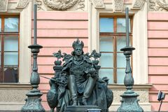 Emperor Paul I. RUSSIA, SAINT PETERSBURG - AUGUST 18, 2017: Monument to the Russian Emperor Paul I in the courtyard of the Mikhailovsky Castle stock photography