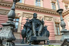 Monument to the Russian Emperor Paul I. RUSSIA, SAINT PETERSBURG - AUGUST 18, 2017: Monument to the Russian Emperor Paul I in the courtyard of the Mikhailovsky royalty free stock photography