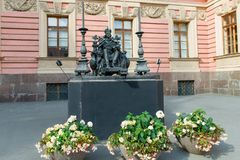 Monument to the Russian Emperor Paul I. RUSSIA, SAINT PETERSBURG - AUGUST 18, 2017: Monument to the Russian Emperor Paul I in the courtyard of the Mikhailovsky royalty free stock photos