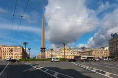 View of the Vosstaniya Square. RUSSIA, SAINT PETERSBURG - AUGUST 18, 2017: Town square. View of the Vosstaniya Square, Obelisk to the Hero City of Leningrad and Royalty Free Stock Photos
