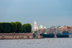 View from the Neva River to Strelka of the Vasilievsky Island royalty free stock photography