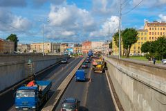View of the Obvodny canal embankment. RUSSIA, SAINT PETERSBURG - AUGUST 18, 2017: View of the Obvodny canal embankment from the Novo-Kamenny bridge on Ligovsky Royalty Free Stock Photo