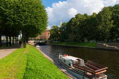 View of the River Moika in front of Mikhailovsky Gardens. RUSSIA, SAINT PETERSBURG - AUGUST 18, 2017: View of the River Moika in front of Mikhailovsky Gardens Stock Photo