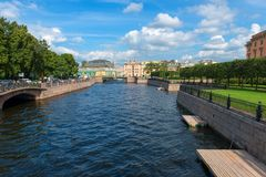 View of the River Moika. RUSSIA, SAINT PETERSBURG - AUGUST 18, 2017: View of the River Moika in front of Saint Michael`s Castle Mikhailovsky Castle or Engineers Royalty Free Stock Images